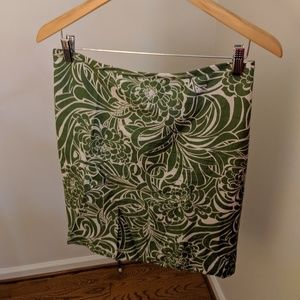 Green and Beige Floral Pencil Skirt